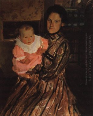 Portrait Of Y E Kustodieva With Son 1904