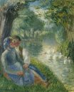 lovers seated at the foot of a willow tree 1901