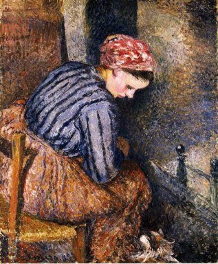peasant woman warming herself 1883