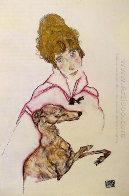 woman with greyhound edith schiele 1916