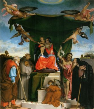 Enthroned Madonna With Angels And Saints St Joseph And St Bernar