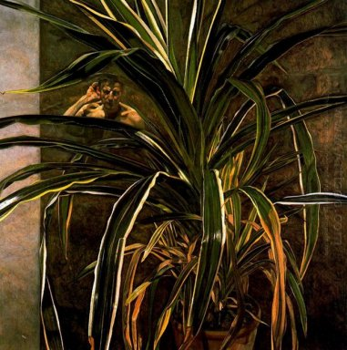 Interior With Plant Reflection Listening Self Portrait 1968