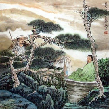 Gaoshi, pines, boat-Chinese Painting