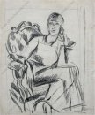 A Sketch Of A Female Figure Seated In A Chair For The Portrait O