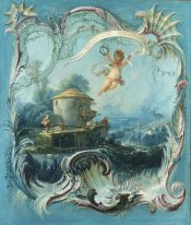 The Enchanted Home A Pastoral Landscape Surmounted By Cupid