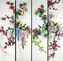 Birds & Flowers-FourInOne - Pittura cinese