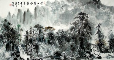 A village on the hill - Chinese Painting