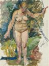Nude On A Background Of Green Sketch For Painting Woman At The C