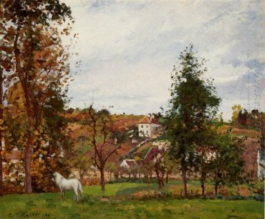 landscape with a white horse in a meadow l hermitage