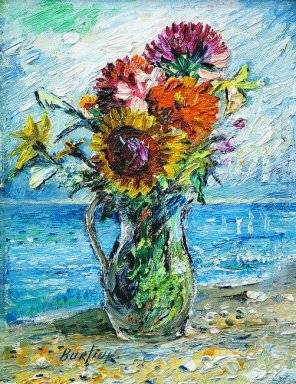 Bouquet Of Wild Flowers With Ocean Background