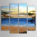 Hand-painted Oil Painting Landscape Beach - Set of 4