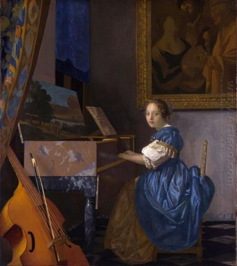 a young woman seated at a virginal a lady seated at a virginal