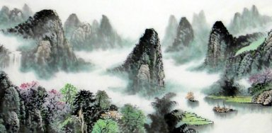 Moutain, Boat - Chinese Painting