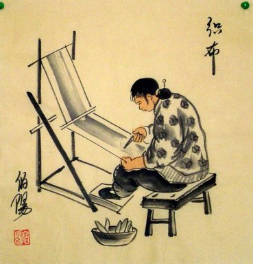 Old Beijingers, spinning - Chinese painting