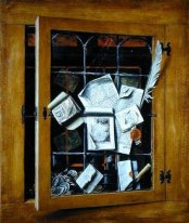 A trompe l'oeil of an open glazed cupboard door, with numerous p