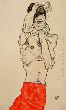 standing male nude with a red loincloth 1914