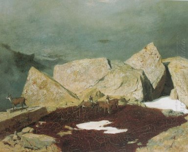 high mountains with chamoises 1849