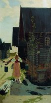 In the village. Girl with a bucket