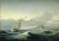 Seascape with sailing ship in rough sea