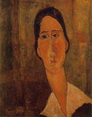 jeanne hebuterne with white collar 1919