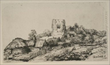 A Village With A Square Tower 1650