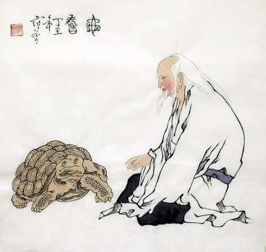 Old man, Tortoise - Chinese Painting