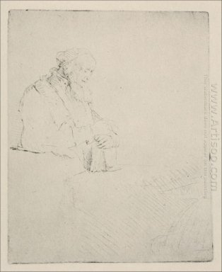 An Old Man Resting His Hands Upon A Book 1645