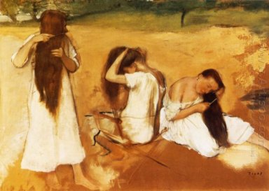 women combing their hair 1877