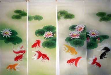 Fish&Lotus(Four Screens) - Chinese Painting