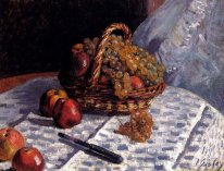 apples and grapes in a basket 1876