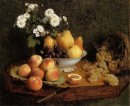 Flowers And Fruit On A Table 1865