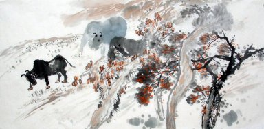 Cows, trees - Chinese Painting