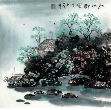 A woodern houses - Chinese Painting