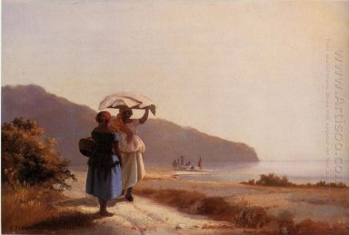 Two woman chatting by the sea st thomas 1856