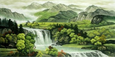 Landscape with waterfall - Chinese Painting