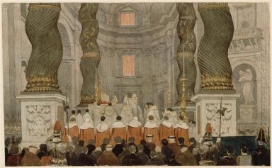 Papal Ceremony In St Peter S In Rome Under The Canopy Of Bernini
