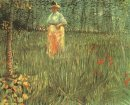 A Woman Walking In Garden 1887