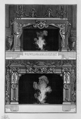 Two Fireplaces Overlapping The Support With A Mask Of Medusa In