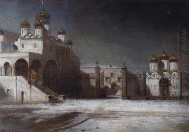 cathedral square in the moscow kremlin at night 1878