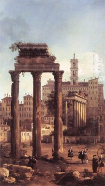 rome ruins of the forum looking towards the capitol 1742