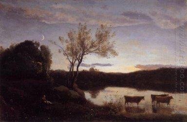 A Pond With Three Cows And A Crescent Moon