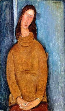 jeanne hebuterne in a yellow jumper 1919