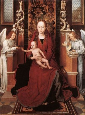 Virgin And Child Enthroned With Two Angels 1490