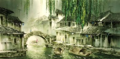 A countryside, watercolor - Chinese Painting