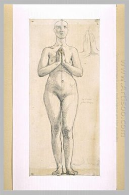 Nude Woman Standing Front View Hands Clasped In Front Of The Che