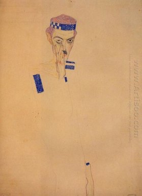 man with blue headband and hand on cheek 1909
