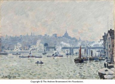 view of the thames charing cross bridge 1874