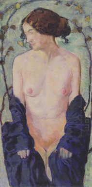 Female Nude With Blue Cloth