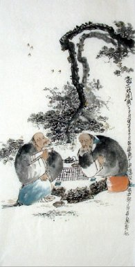 Two old men, play chess - Chinese Painting