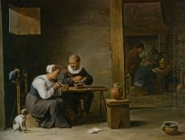 A man and woman smoking a pipe seated in an interior with peasan